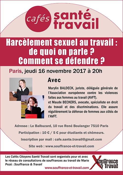 Harcèlement sexuel au travail : Café Citoyen Santé Travail