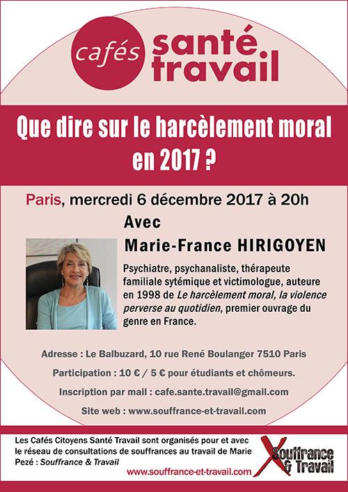 Que dire sur le harcèlement moral en 2017 ? Café Citoyen Santé Travail avec Marie-France Hirigoyen