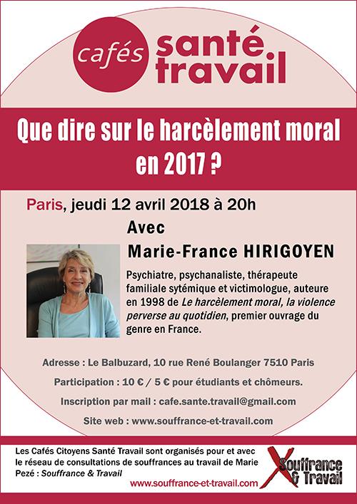 Que dire sur le harcèlement moral en 2017 ? Seconde conférence de Marie-France Hirigoyen