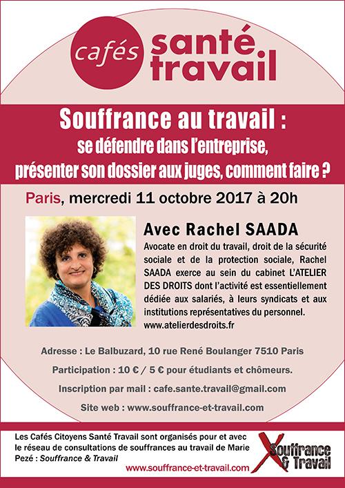 Souffrance au travail : se défendre dans l'entreprise, présenter son dossier aux juges - Café Citoyen Santé Travail avec Rachel SAADA, avocate