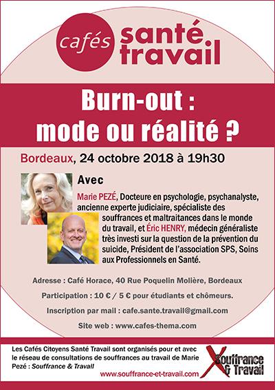 BORDEAUX: Café Santé Travail avec Marie Pezé sur le burn-out