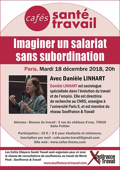 Salariat sans subordination - Café Santé Travail avec Danièle LINHART
