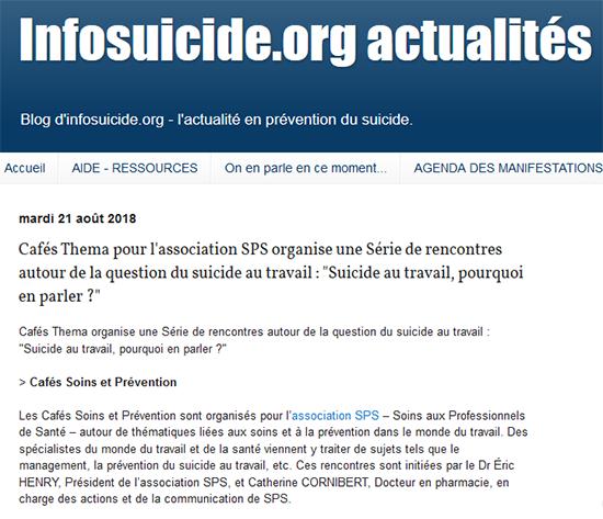 Infosuicides - Cafés Soins Prévention sur le suicide au travail