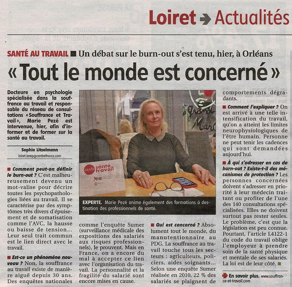 La République du Centre - Café Santé Travail - Un débat sur le burn-out s'est tenu, hier, à Orléans.