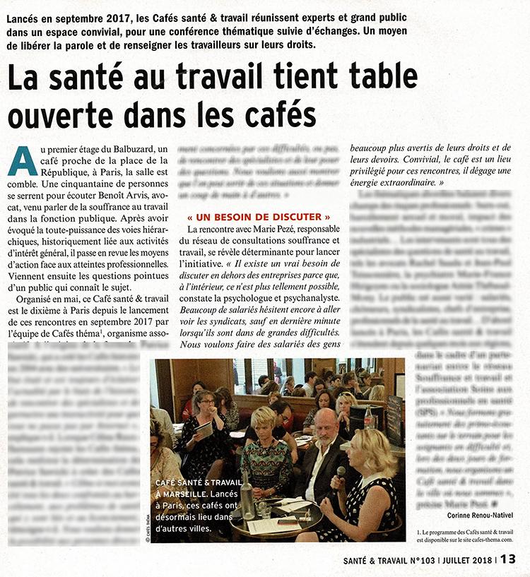 Santé et Travail : La santé au travail tient table ouverte dans les cafés