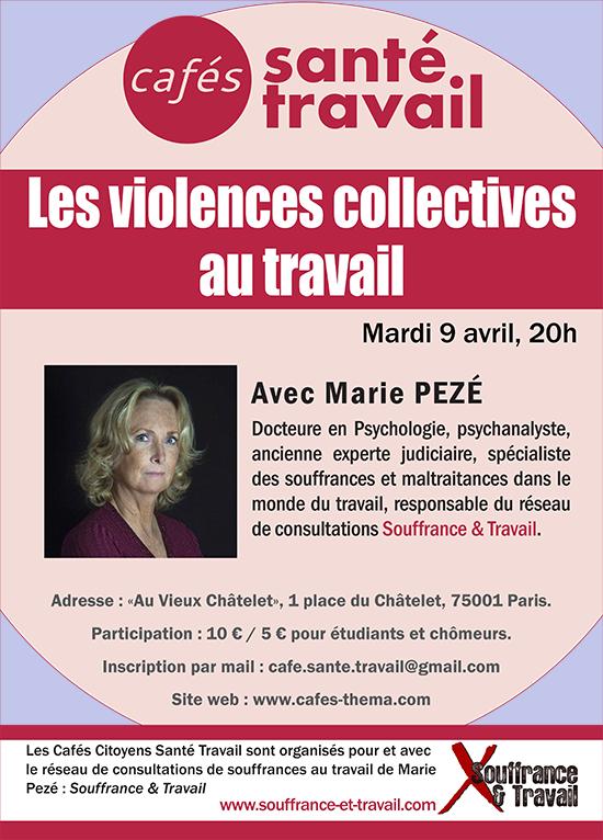 Café Citoyen Santé Travail avec Marie Pezé sur les violences collectives