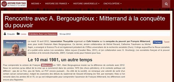 Histoire pour tous - Café Histoire Mitterrand