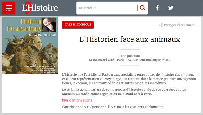 Café Histoire - Annonce L'Histoire magazine - Historien aniaux - Michel Pastoureau