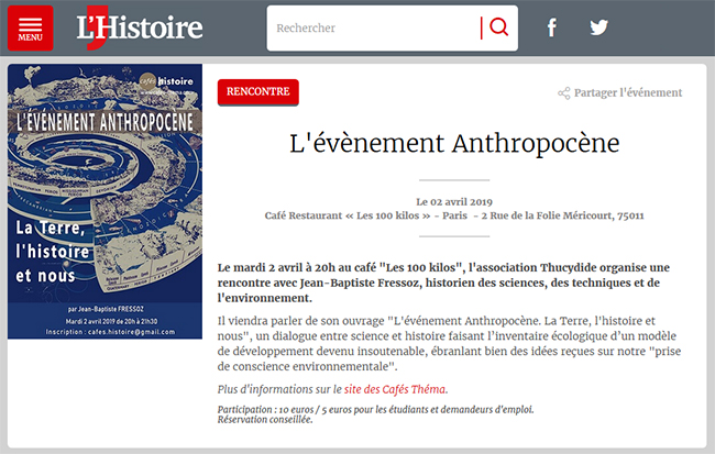L'évènement Anthropocène - Café Histoire - Magazine L'Histoire
