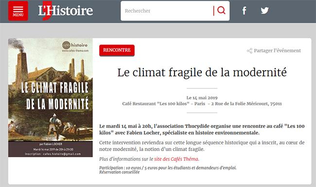 Le climat fragile de la modernité - Café Histoire annoncé sur le site du magazine L'Histoire