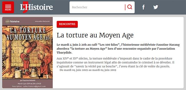 La torture au Moyen Âge - Café Histoire annoncé sur le site du magazine L'Histoire