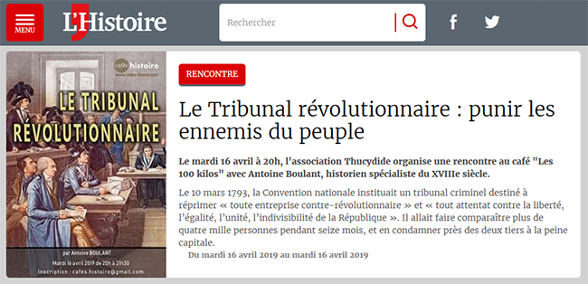Le Tribunal révolutionnaire - Café Histoire annoncé sur le site du magazine L'Histoire
