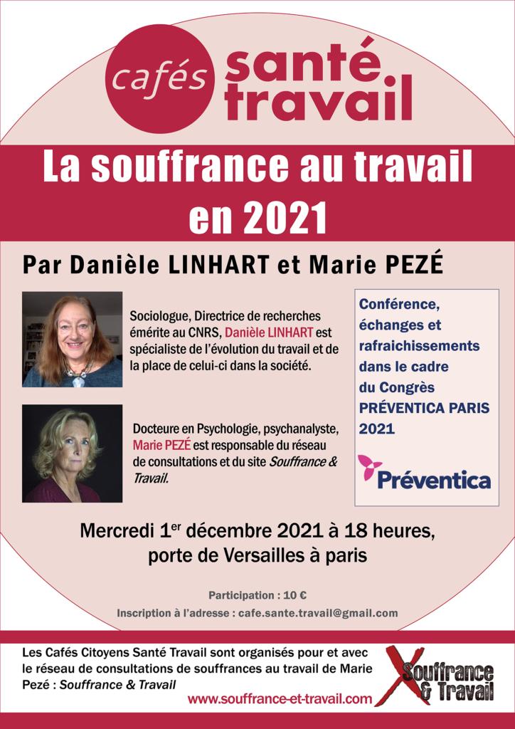 Café Santé Travail Préventica Paris 2021 avec Danièle Linhart et Marie Pezé